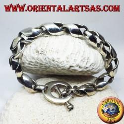 Bracciale  in argento, cilindri a snodo