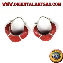 silver earrings, semi-circle crescent with coral madrepora