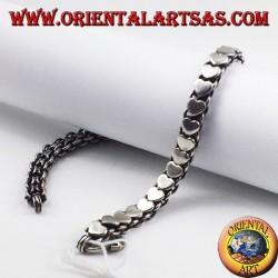 Silver bracelet with hearts platelets
