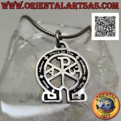 Silver pendant, Christogram...
