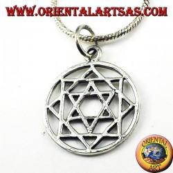 ciondolo in argento , Mandala con stella di Davide