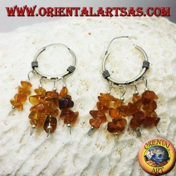 silver hoop earrings with Amber