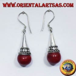 silver cone earrings with coral sphere