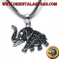 silver pendant with elephant trunk upwards