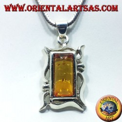 Silver Pendant with Amber rectangular