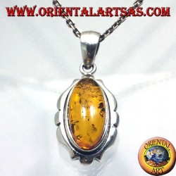 Silver Pendant with Amber Oval