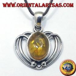 Ciondolo in argento cuore con Ambra ovale