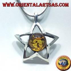 pendentif en argent étoile ronde Ambre