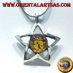 silver star pendant with Amber round
