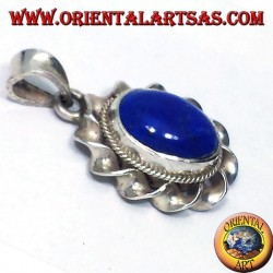 Silver Pendant With Oval Lapis Lazuli