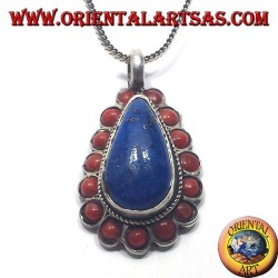 Silver Pendant Lapis drop surrounded by coral