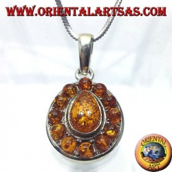 silver pendant with amber teardrop and round around