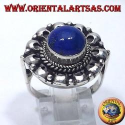 Bague en argent avec lapis lazuli rondes