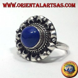 silver ring with lapis lazuli round
