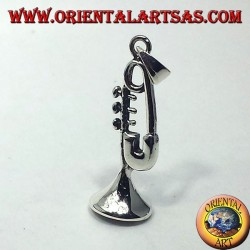 silver pendant, trumpet