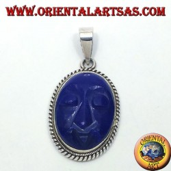 silver pendant with lapis lazuli carved face