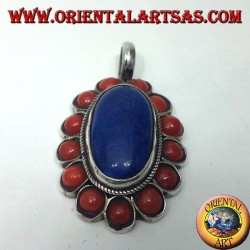 Silver Pendant Lapis lazuli Oval surrounded by coral