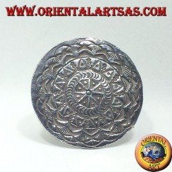 silver ring, Karen disc carved by hand