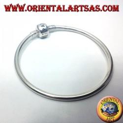 bracciale in argento, rigido liscio per charms