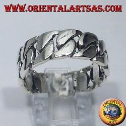 anello in argento fascia a catena