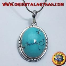 Ciondolo in argento con Turchese Tibetano naturale