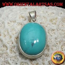 Ciondolo in argento con Turchese Tibetano naturale ovale