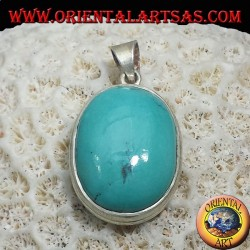 Silver Pendant with Natural Turquoise Tibetan (Oval)
