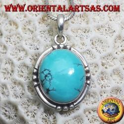 Ciondolo in argento con Turchese Tibetano naturale (ovale medio)