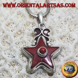 Ciondolo in argento stella di corallo naturale