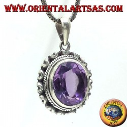silver pendant with beautiful real natural Amethyst