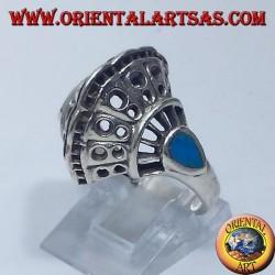 anello in argento, conchiglia con due gocce di turchese