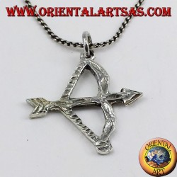 silver pendant bow with arrow