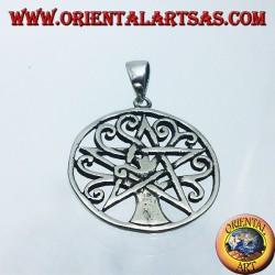 pendentif en argent, arbre de vie avec pentacle