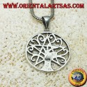silver pendant, tree of life with pentacle
