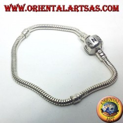 silver bracelet, soft for charms