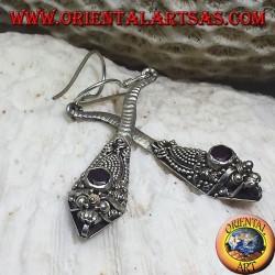 Silver earrings handmade cobra with garnet