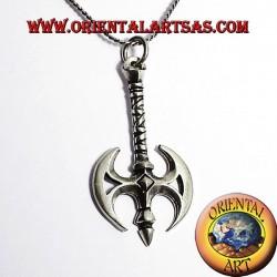 Colgante hacha hacha de plata con céltica del dragón