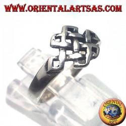 Silver ring, Tibetan infinite Srivatsa