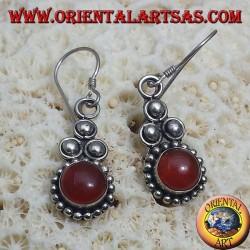 серебряные серьги с круглым сердолик Бали