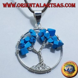 pendentif en argent, arbre turquoise de la vie