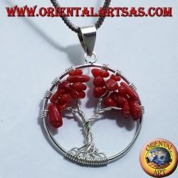 ciondolo in argento, albero della vita con coralli