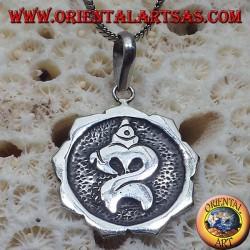Silber Anhänger Om geschnitzt Balinese ॐ