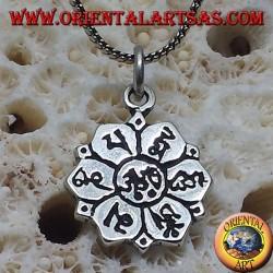 Silber Anhänger ॐ om in Lotosblume mit Sanskrit