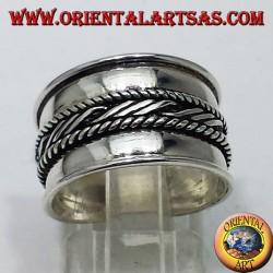 anello fascia larga in argento Bali centrale