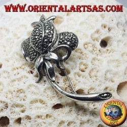 Silver brooch, Tulip with marcasite