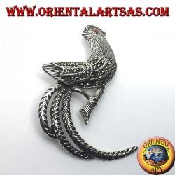 Gallo , spilla in argento con marcasite