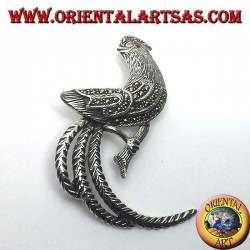 rooster, silver brooch with marcasite