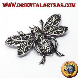 Пчела, серебряная брошь с марказита