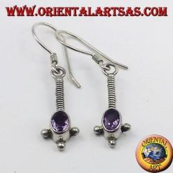 Silber-Ohrringe mit ovalen facettierten Amethyst