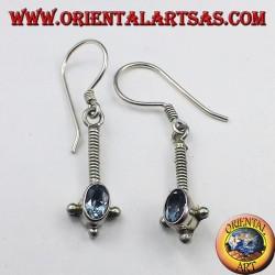Silber-Ohrringe mit ovalen facettierten blauen Topas